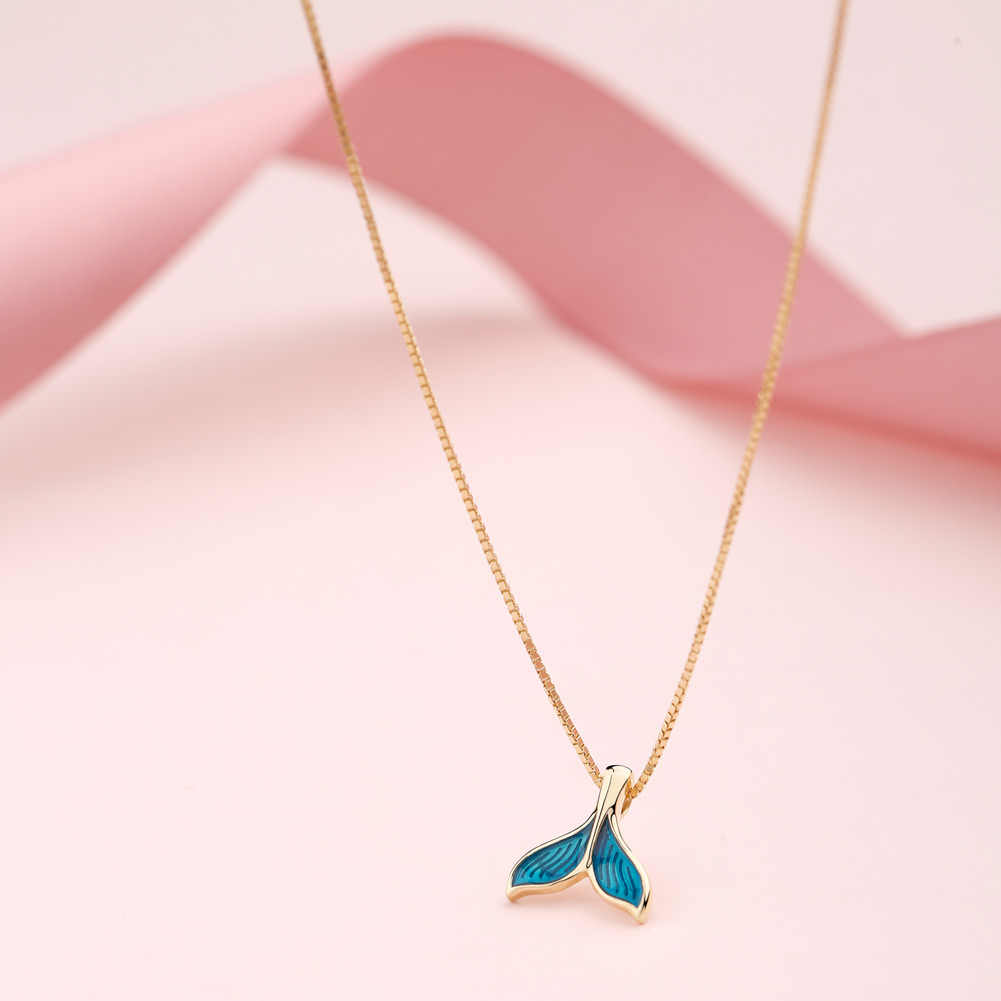 SA SILVERAGE Gold Color Plated Chain Link Necklace Real 925 Sterling Silver Blue Color Mermaid Tail Pendant Necklaces 925 Silver