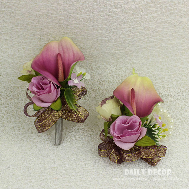 6 pcs/lot ! 8 color Real Touch calla lily wedding flowers groom ...