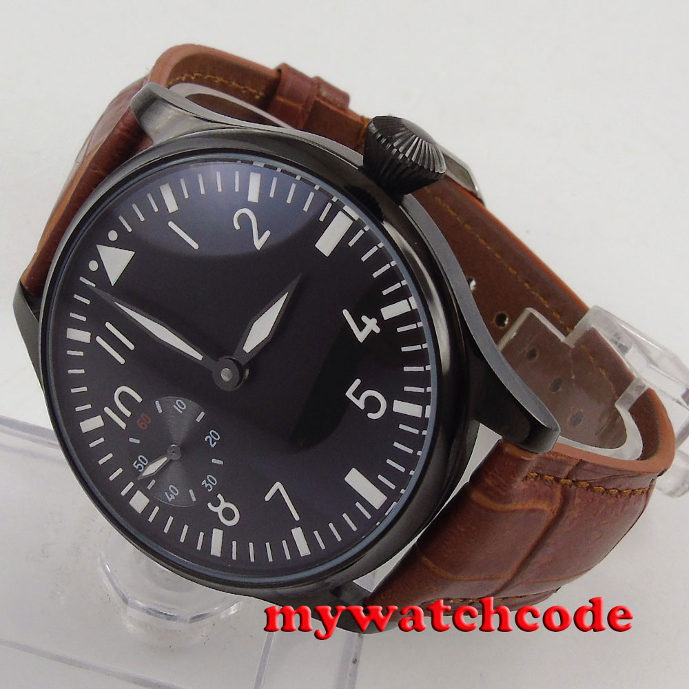 44mm parnis black dial luminous PVD 6497 hand winding brown strap mens watch 290 цены онлайн