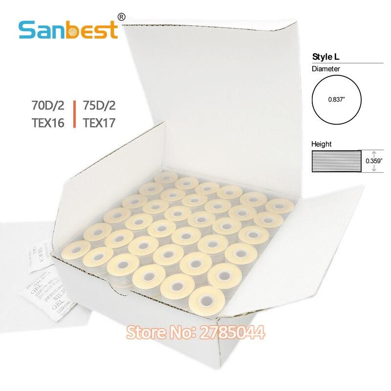 Sanbest 144 Polyester Pre-bobines Fil Papier En Plastique Côté Sideless Taille L (SA155) pour Frère Babylock Machine À Broder