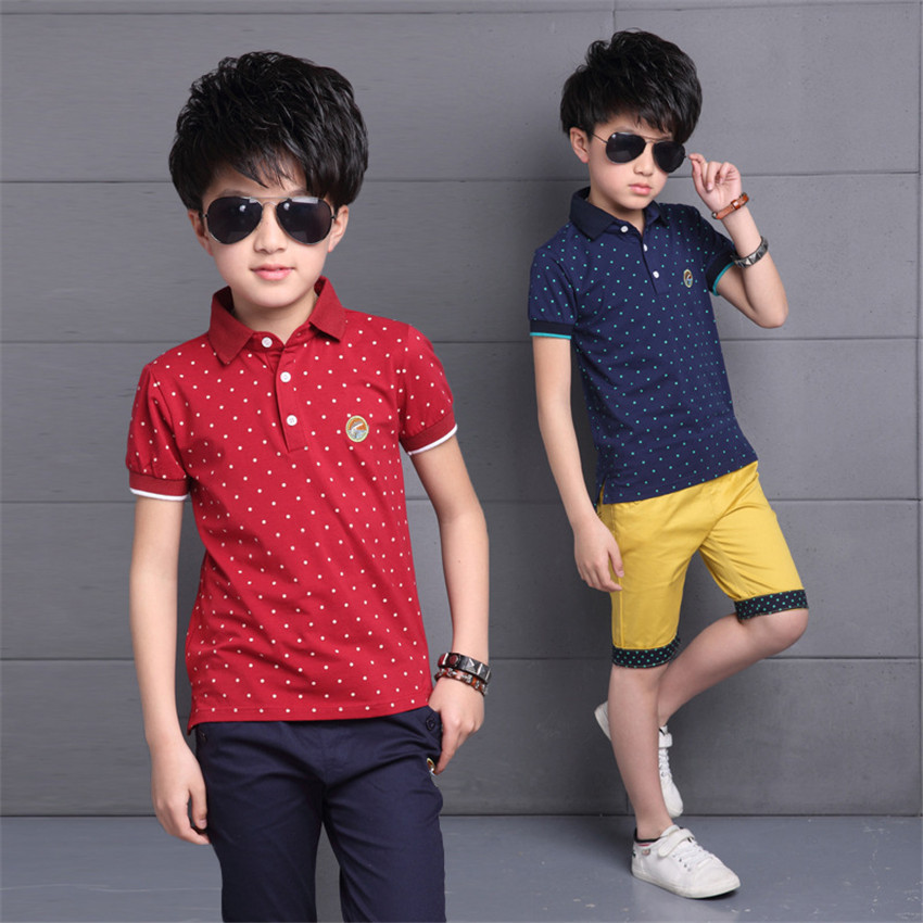 3-14 y 2018 new boy summer set short sleeve boys outfits children clothes sets polka dot boys polo shirts knee length pants