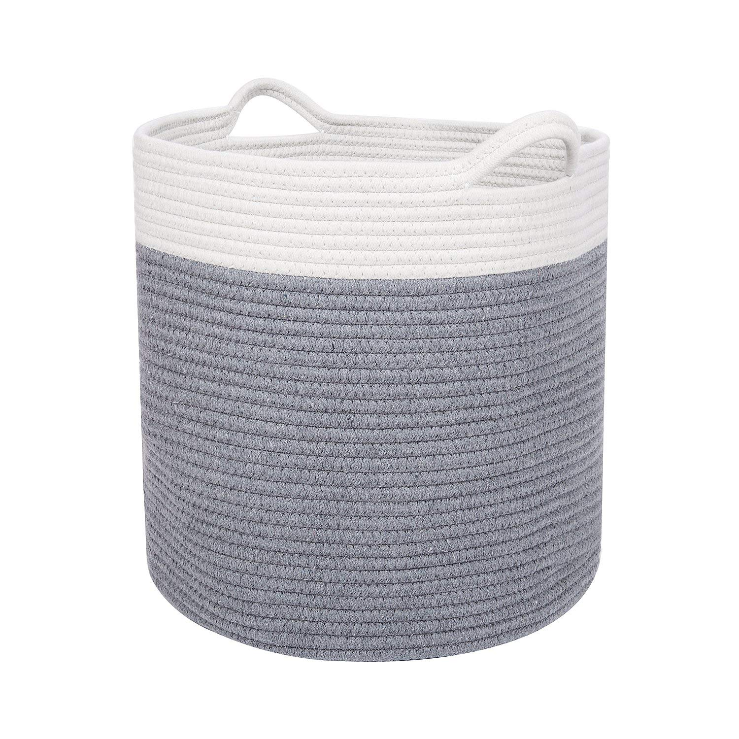 Cotton Laundry Storage Basket Organize Clothes, Gifts, Toys & Diapers Cute, Neutral White & Gray Foldable Laundry Baskets