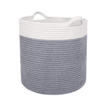 Cotton Laundry Storage Basket Organize Clothes, Gifts, Toys & Diapers Cute, Neutral White & Gray Foldable Laundry Baskets laundry basket curver infinity 59 l gray