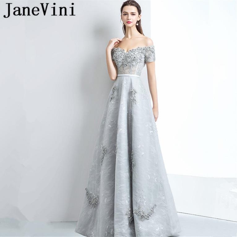 JaneVini Light Gray Long Bridesmaid Dresses 2018 A Line Lace Appliques Beaded Maid Of Honor Dresses Floor Length Abito Damigella