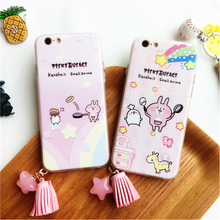 Excellent Phone Case Cover For iPhone 6 6S 6 Plus 7 7 Plus Cute Cartoon Figures Kanahei TPU+PC electroplate button -0901600