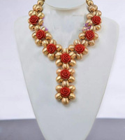 2018 Exclusive Handmade Weaved Gold Beads Dubai Costume Jewelry Set Red Rose Flower Chunky Statement Necklace Set Bride PJW301