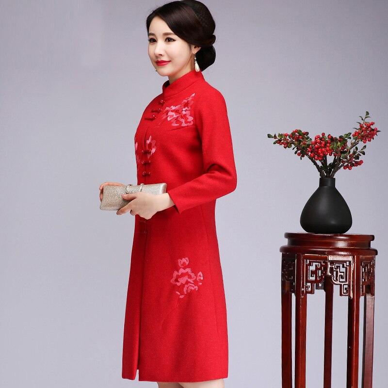 Manteau Femmes Mariage Rouge Broderie Épaissir Grande Outwear Hiver 5j4R3LA