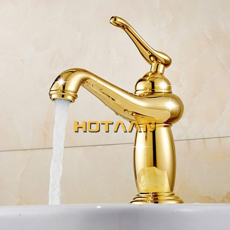 Бесплатная доставка, новое поступление, кран для ванной комнаты с золотым покрытием, латунный смеситель с керамическим torneiras para banheiro