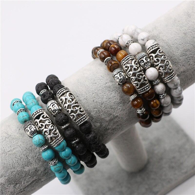 Buddhist Buddha Meditation Bracelet Natural Stone Yoga Bracelet For Women Men Energy Volcanic Stone Tiger Eye Beads Bracelet