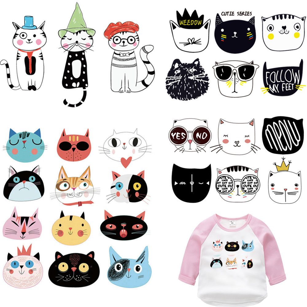 1 set funny cat patch iron on transfer for kids clothes accessories transfert thermocollants t-shirt parches termoadhesivos ropa