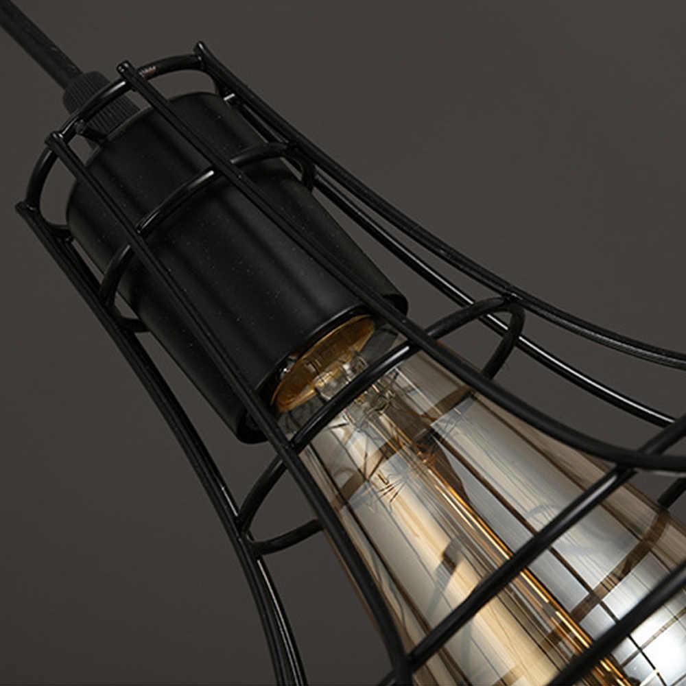 KARWEN Современная железная клетка винтажный светодиодный светильник лампа Лофт Пирамида светодиодный светильник люстра edison Ретро лаконичная металлическая Подвесная лампа E27 светодиодный