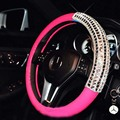 Leather Steering Wheel Cover with Crystal Rhinestone Black Pink Car Steering-Wheels Hubs For Girls and Women Auto Wheels
