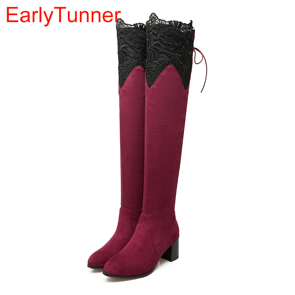 Brand New Sexy Lace Women Thigh High Riding Boots Black Red Blue Lady Over the Knee Shoe Chunky Heel ET07 Plus Big size 32 46 10