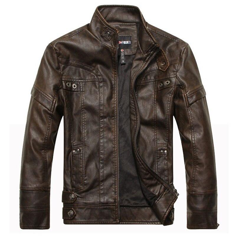 Brand New motorcycle leather jackets <font><b>men</b></font> jaqueta de couro masculina Bomber leather jacket Inverno Couro <font><b>mens</b></font> Stand Collar jacket