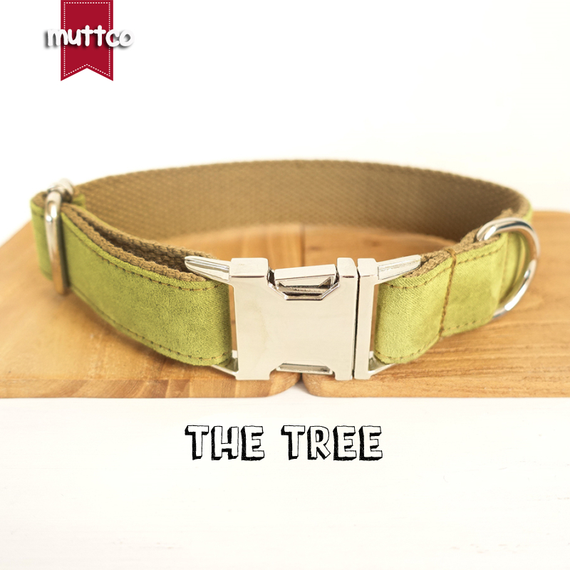 100pcs/lot MUTTCO wholesale self-design environmental dog collar THE TREE nylon yellow green and brown 5sizes dog collars UDC031