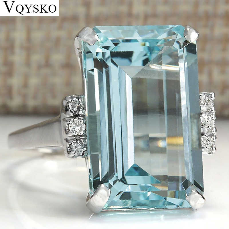 Big Blue CZ Cubic Zircon Stone Silver Rings for Women Engagement Fashion Jewelry Valentines Day Gift