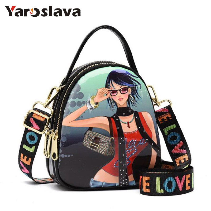 Women luxury Brands Leather Shoulder Bags Vintage Wide shoulder straps Women Small pattern Crossbody Bag Classic Girl bag LL738