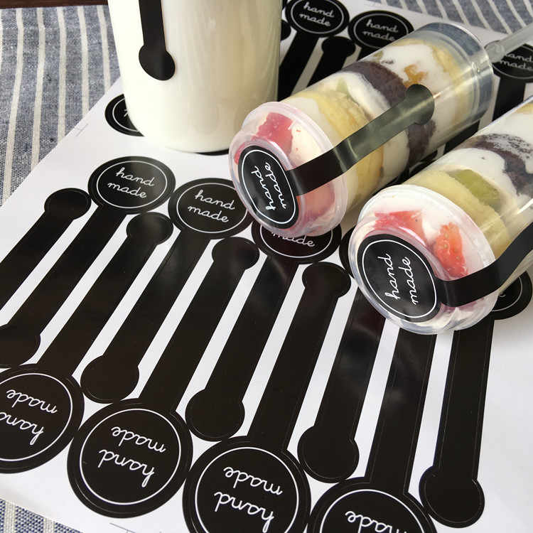 "200pcs/lot ""Hand made"" Black Self-adhesive Stickers, Long label sticker DIY Hand Made Gift /Cake Paper Sticker"