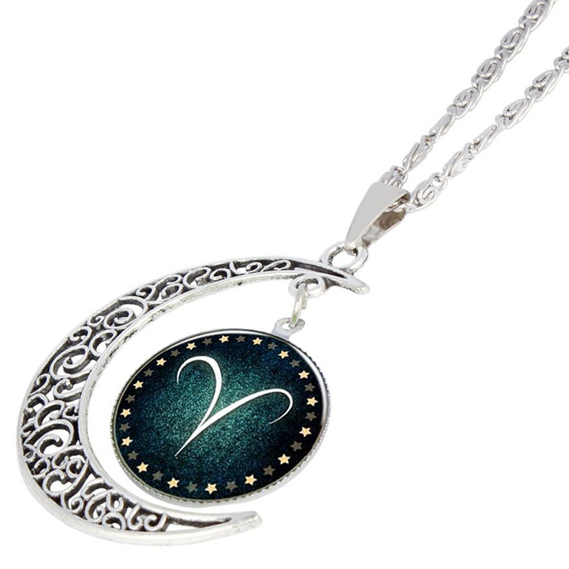 CAB9 tree china style Landscape painting 925 silver chain for women and man and resin and round shape