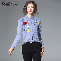 Willstage Floral Embroidery Blouse Women Striped Shirts Bird Printed Blouses Button Office Ladies OL Work Wear