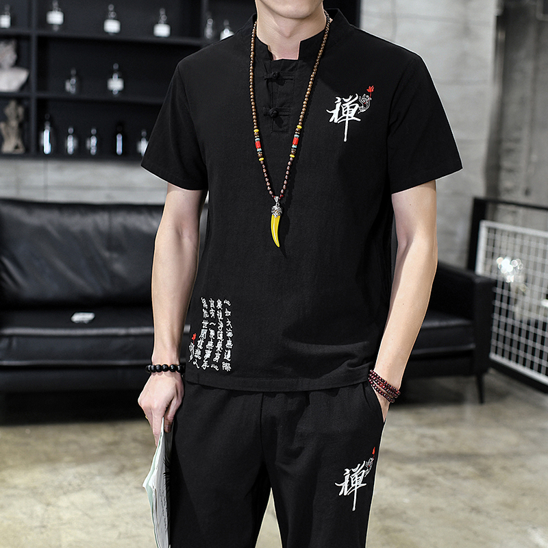 2019 Summer Men Two-piece Cotton And Linen Short-sleeved Men Tshirt And Drawstring Strap Ankle Length Pants