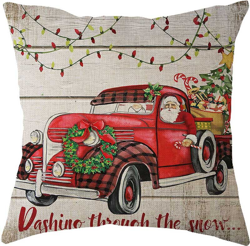 2019 New Year Christmas Decorations for Home Natal Merry Christmas Tree on The Car Linen Cushion Pillowcase 45x45cm Wholesale (5)