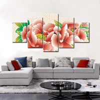 2016 Free Shipping 5 Panels Abstract Pink Flower Canvas Wall Art Picture Home Decoration Living Room