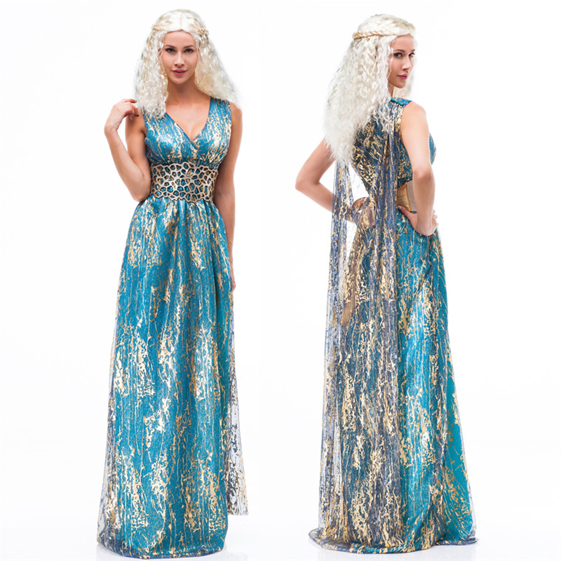 Cosplay Daenerys Targaryen Blue Sleeveless Dress & Cloak A Song of Ice and Fire Game Of Thrones Costume Halloween Sexy Costume