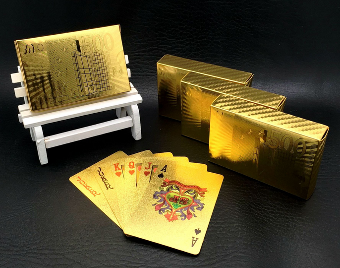 One Deck Gold Foil Poker Euros Style Plastic Poker Playing Cards Waterproof Cards Good Price Gambling Board game GYH