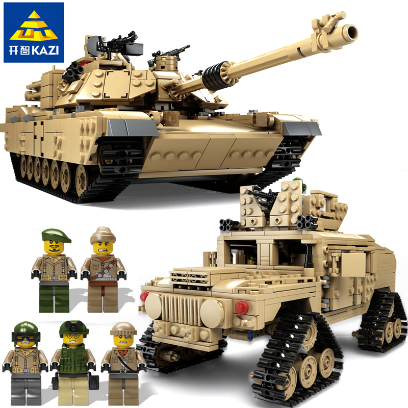 KAZI ky10000 Military M1A2 Tank HUMMER Series bricks Toys 2 in 1 Model Building Blocks compatible with famous brand brinquedos kazi large military 1463pcs 2in1 tank hummer building blocks bricks army war models toys for boys children compatible lepin