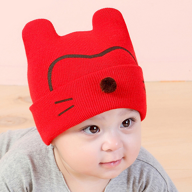 2017 New Newborn Babies Cat Ear Toddler Hats Winter Milk Boy Baby Caps Boy  Warm Knitted 0f0487ddb31