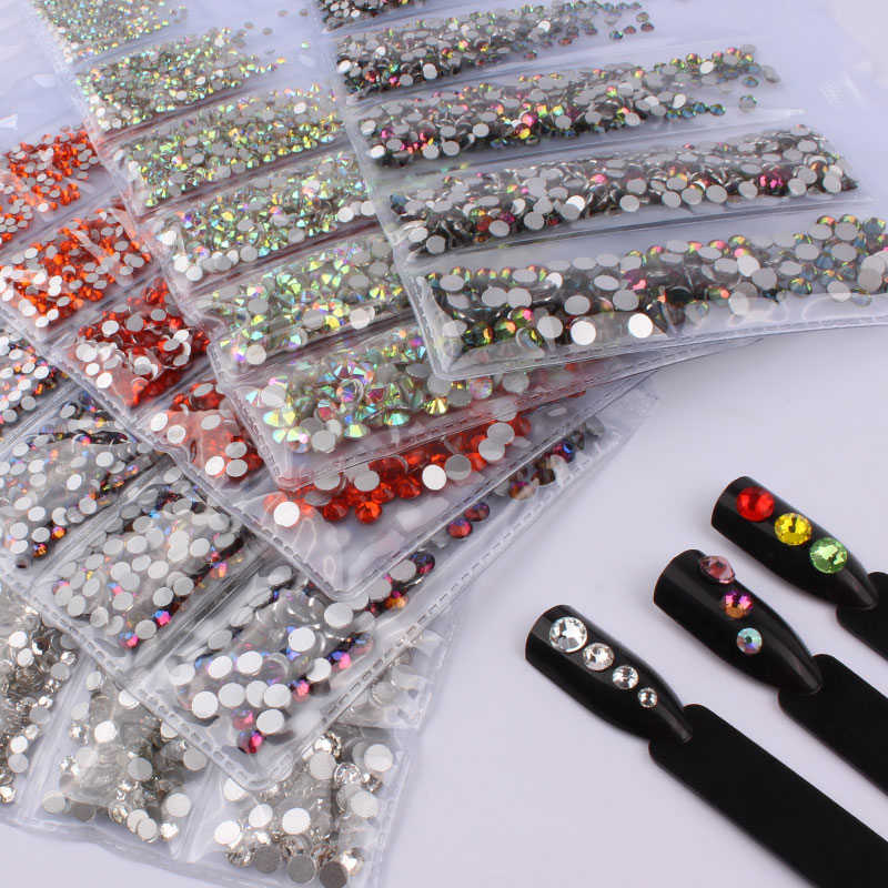 1728PCS Rhinestones For Nail Art Glass Multi-size Nail Crystal Rhinestone Nail Art Decorations Crystals Strass Charms