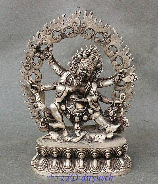 Crafts statue Tibet Buddhism Fane Silver 6 Arms Shiva Mahakala Wrathful Deity Buddha StatueCrafts statue Tibet Buddhism Fane Silver 6 Arms Shiva Mahakala Wrathful Deity Buddha Statue