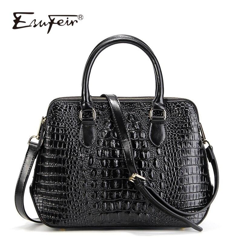 ESUFEIR Genuine Leather Women Handbag Famous Brand Shoulder Bag Crocodile Pattern Leather Luxury Women Bags Designer