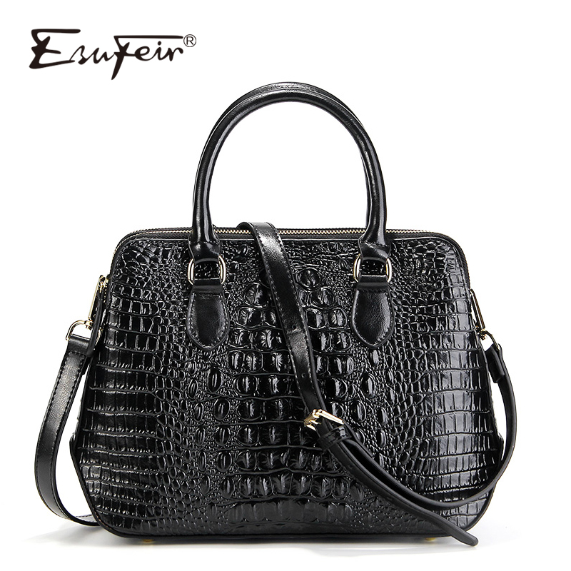 ESUFEIR Genuine Leather Women Handbag Famous Brand Shoulder Bag Crocodile Pattern Leather Luxury Women Bags Designer Casual Tote hahmes 100% genuine leather women s handbag crocodile pattern designer female real cow leather tote bag 28cm 10763