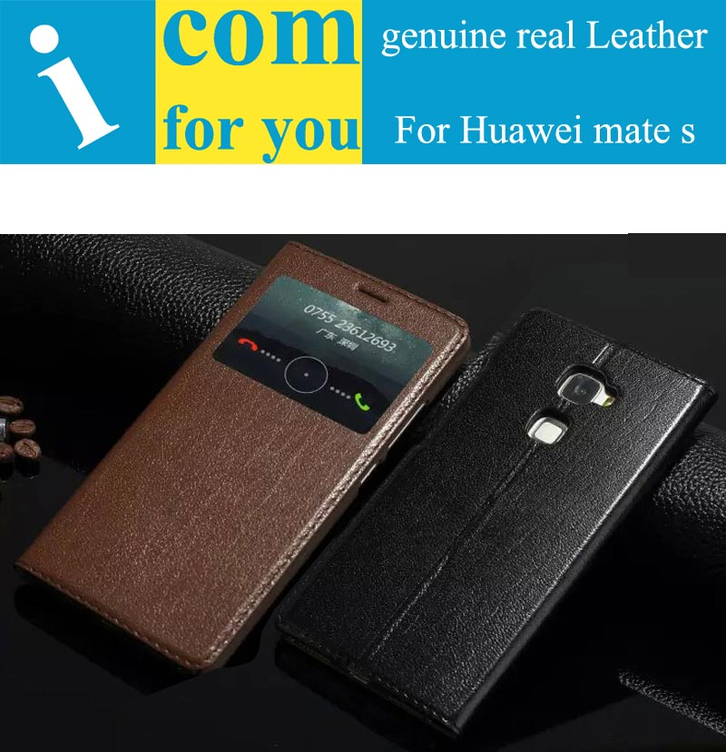 imágenes para Genuine real naturaleza flip leather case cubierta huawei mate s