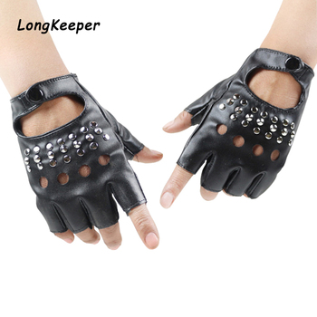 Long Keeper Women Sexy Fingerless Gloves Metal Rivets Party Show Leather Gloves Female Fitness Half Finger Gloves Mittens Star women rivets leather gloves semi finger mens rivet belt pu gloves sexy cutout fingerless gloves