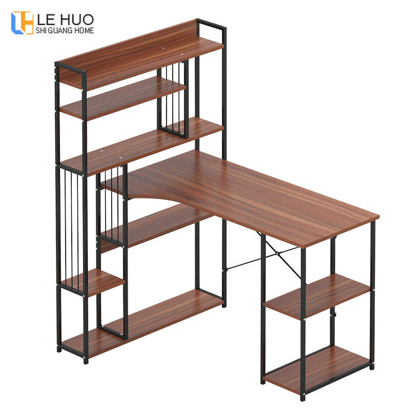 Desktop office Computer Desk table with Multi-shelf bookcase Multifunction household Study desk home Laptop table furniture