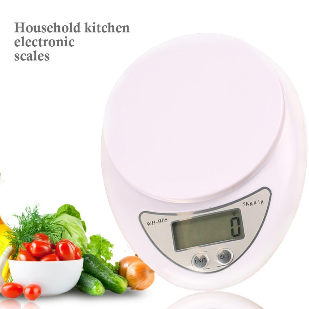 Portátil de 5000g/1G escala Digital LCD escalas electrónicas Steelyard básculas de cocina Postal Balance de alimentos de medición de peso Libra