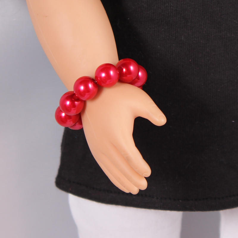 1 pcs Red American Girl Doll Pearl Bracelets Fits Our Generation Doll 18 American Girl Doll