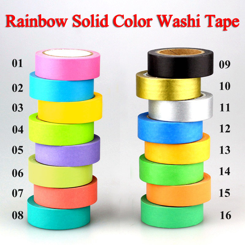 10m DIY Cute Kawaii Rainbow Solid Colors Washi Tape Masking Tape Decorative Adhesive Tape For Home Decoration and Scrapbooking батарейка aaa xiaomi rainbow colors 10 штук