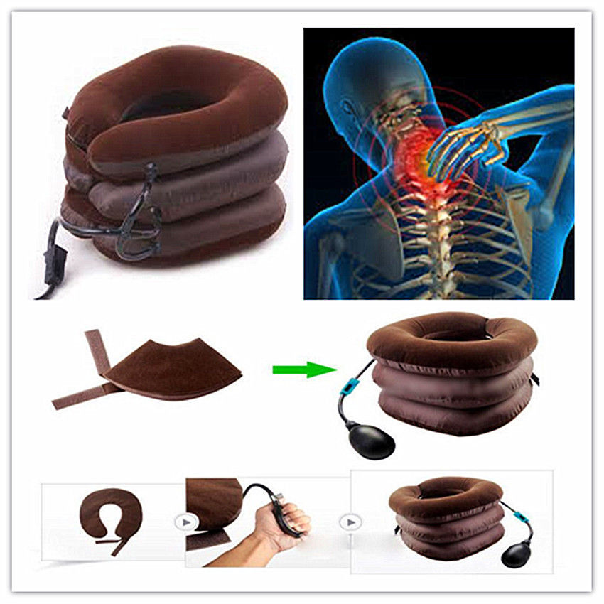 Air Inflatable Pillow Cervical Neck Head Pain Traction Support Soft Brace Device for Head Back Shoulder Neck Pain Health Care