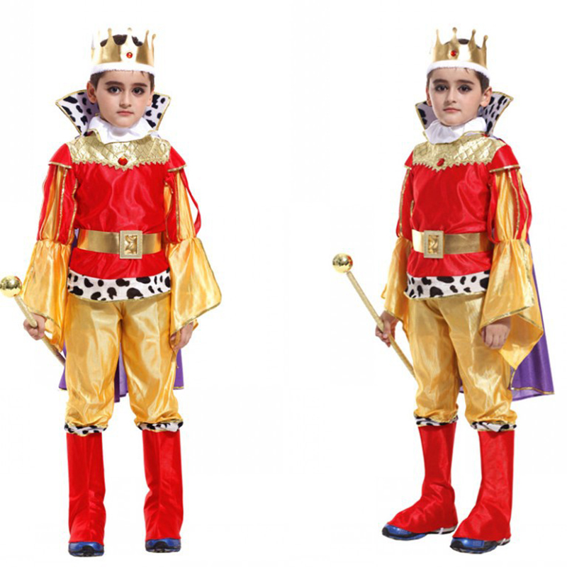 2017 New Children king cosplay costume christma halloween Prince Charming party clothes,suitale for 3-12 years old kids