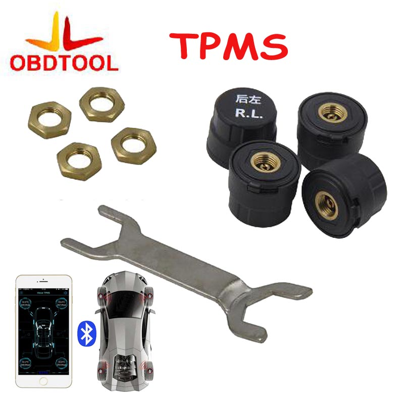Car Tire Tyre Pressure Monitoring System 4 TPMS Alarm Warning By Bluetooth 4.0 for Iphone IOS Android Mobile Phone APP