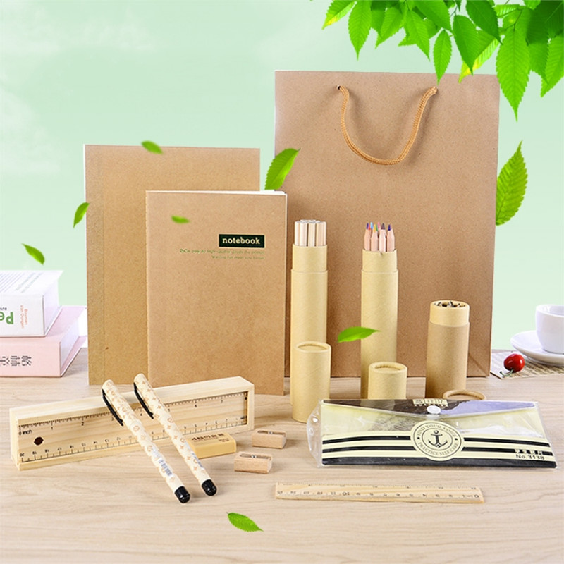 Environmental Protection Log Stationery Set Basswood Pencil Case Ruler Notebook Earser  Sharpener School Supplies Gift For Child children stationery set includes pencil case sharpener drawing pen chess scissors students stationery set as a gift for kids