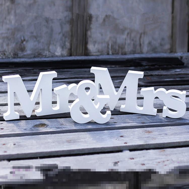 Белый Mr. & Mrs. Письма Свадебный Украшение стола, автономных мистер и миссис знаки для  ...