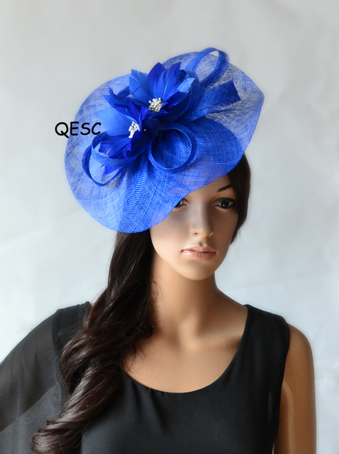 New Royal Blue Las Occasion Hats Sinamay Fascinator For Melbourne Cup Ascot Races