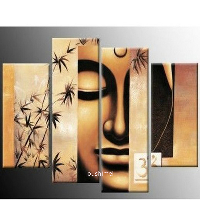 Handmade 4P Figure Of Buddha Pictures On Canvas Religion Oil Painting For Living  Room Wall Abstract