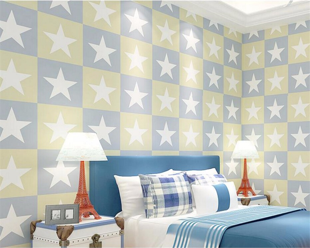 beibehang Children Wallpaper Boy girl Bedroom Background Wall Cartoon star wall paper home decor wallpaper for kids room beibehang wallpaper high grade environmental protection non woven wallpaper girl boy room room striped wall paper car children