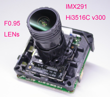 "F0.95 Objektiv intelligente analisys H.265 1/2. 8 ""STARVIS IMX291 CMOS + Hi3516C V300 IP CCTV kamera PCB board modul + LAN kabel"